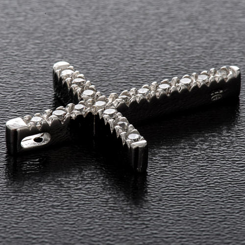 Croix argent 925 strass 3 cm 3