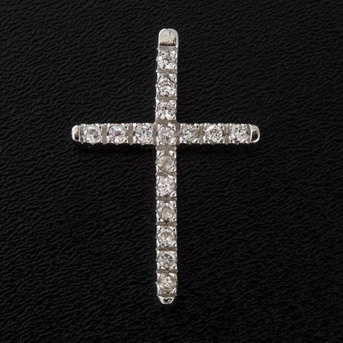 Croix argent 925 strass 3 cm 4