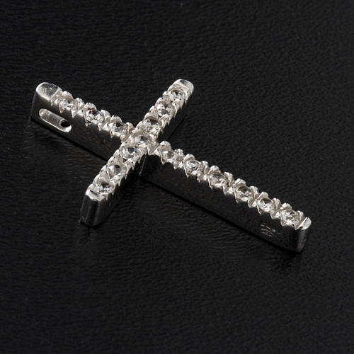 Croce argento 925 strass cm 3 2