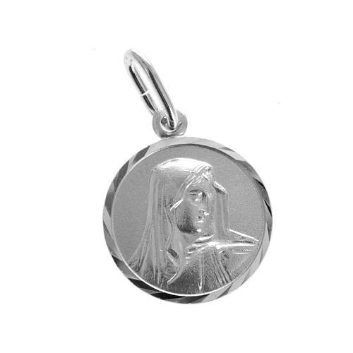 Medaglia tonda argento 925 Madonna addolorata 1,5 cm