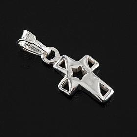 Croce con stella arg. 925, h 1,5 cm s2