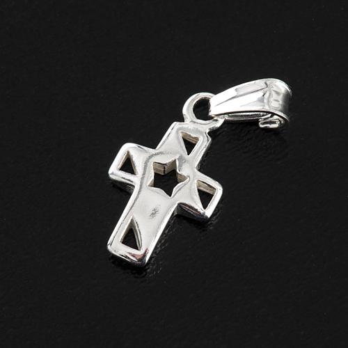 Croce con stella arg. 925, h 1,5 cm 3
