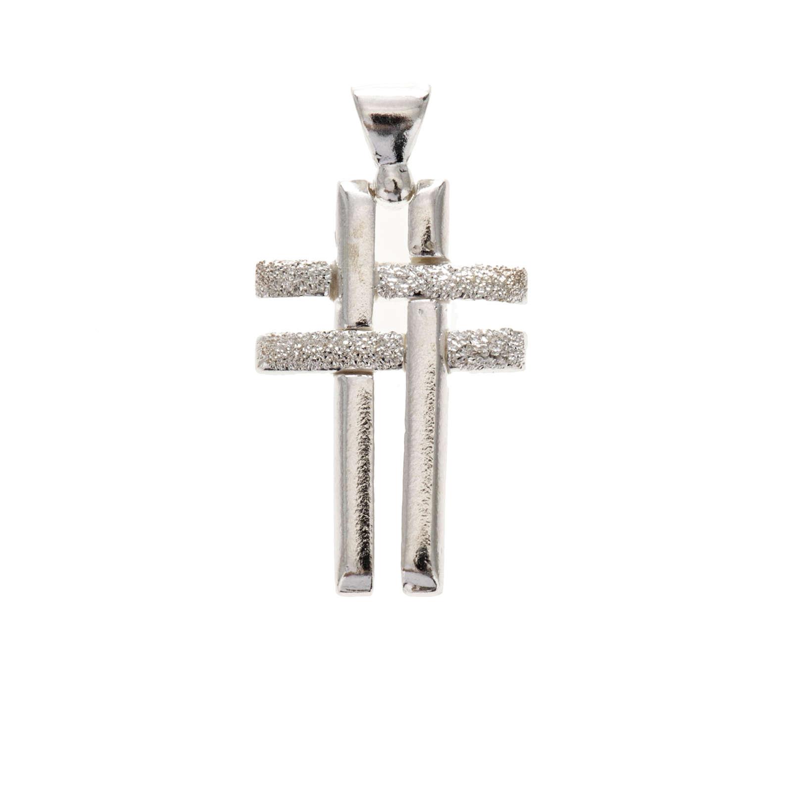 Pendant double cross in sterling silver 2,3cm 4