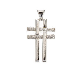 Pendant double cross in sterling silver 2,3cm s1