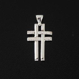 Pendant double cross in sterling silver 2,3cm s2