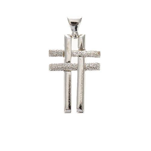Pendant double cross in sterling silver 2,3cm 1