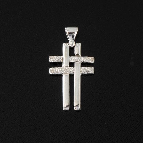 Pendant double cross in sterling silver 2,3cm 2