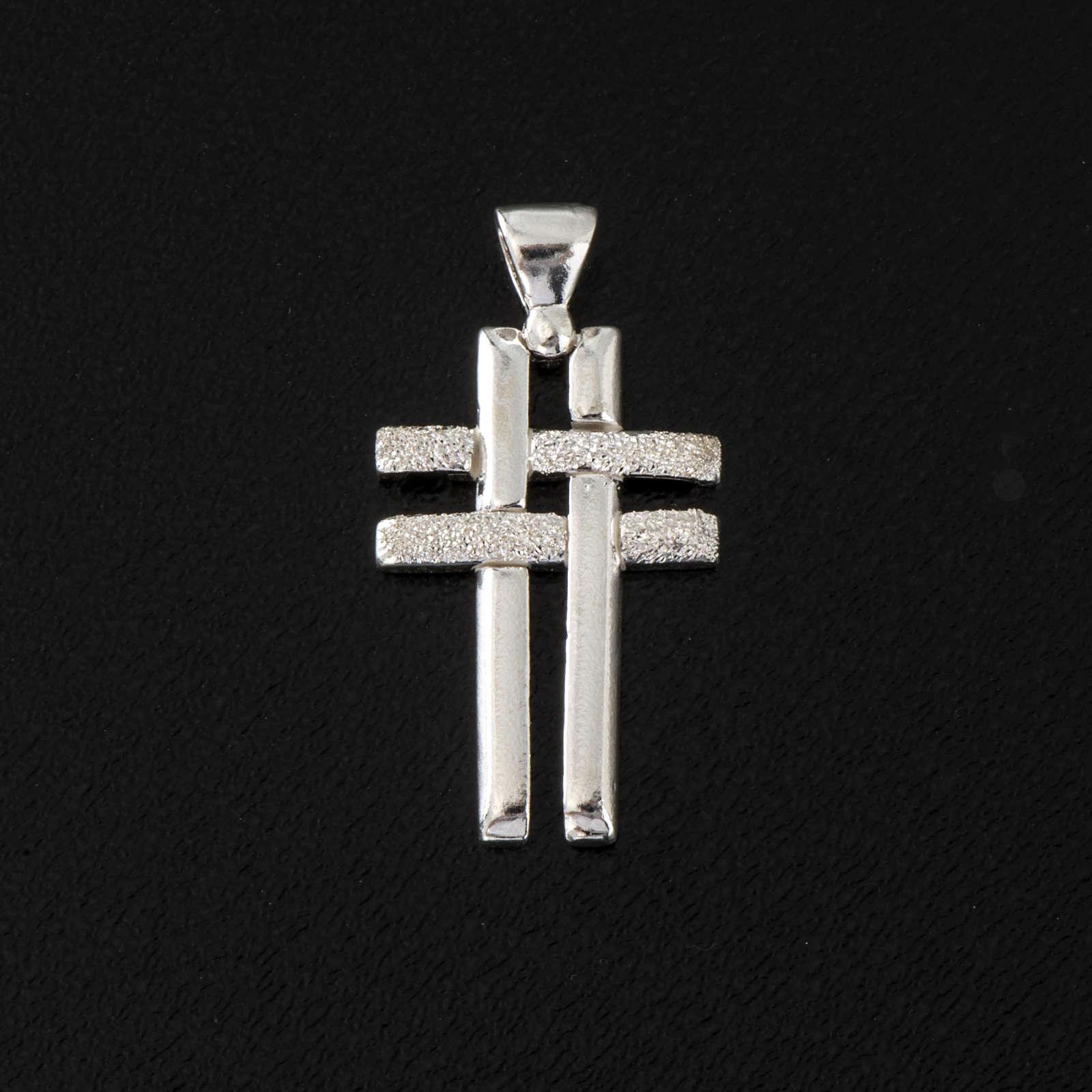 Krzyżyk podwójny srebro 925 4