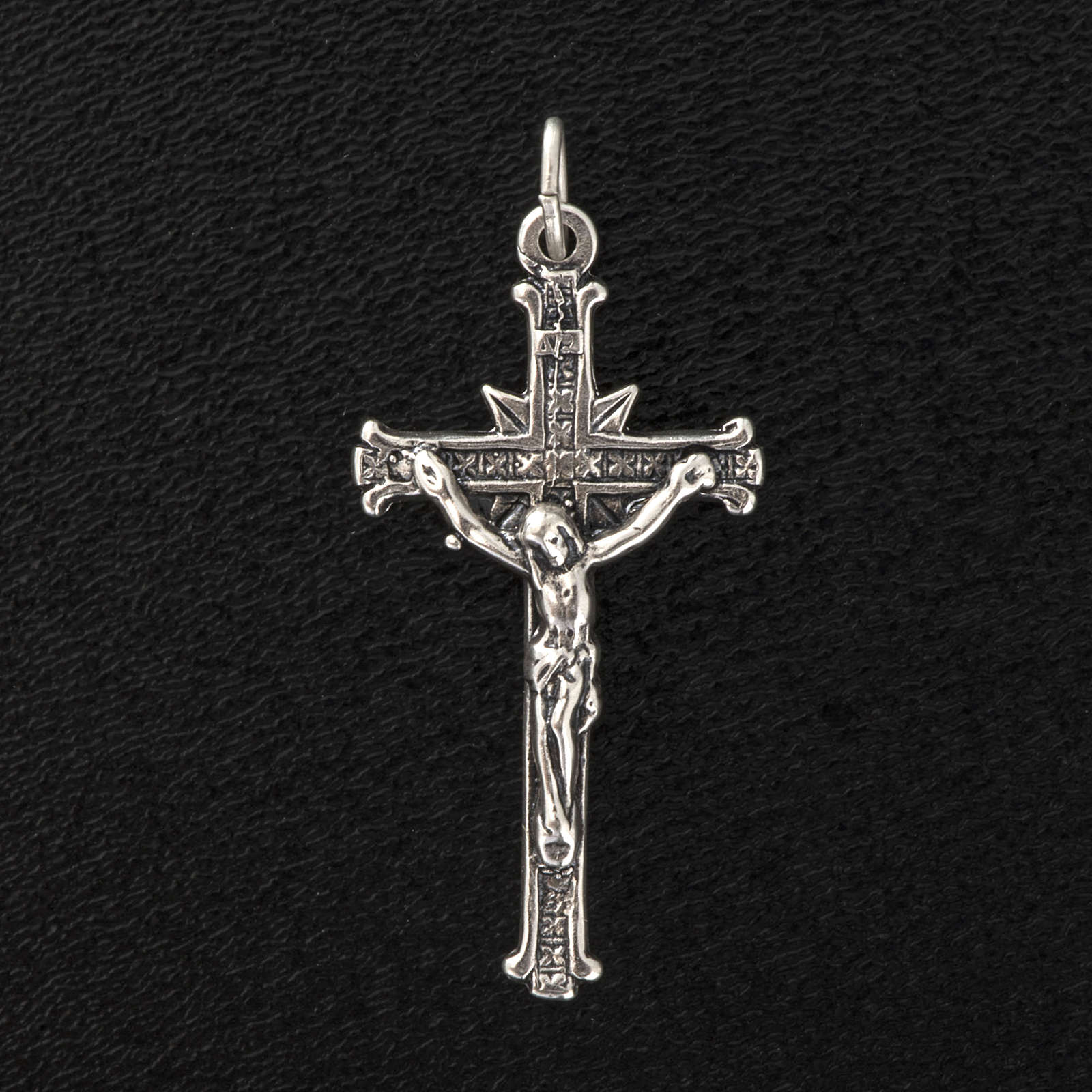Pendant cross in satin sterling silver 3,5cm 4