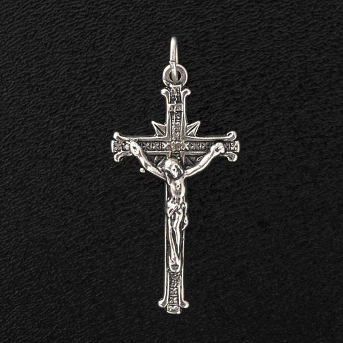Pendant cross in satin sterling silver 3,5cm 2