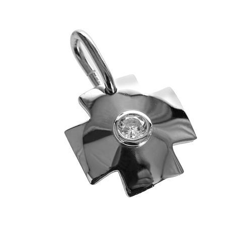 Croix argent 925 avec zircon 1.5 cm 1