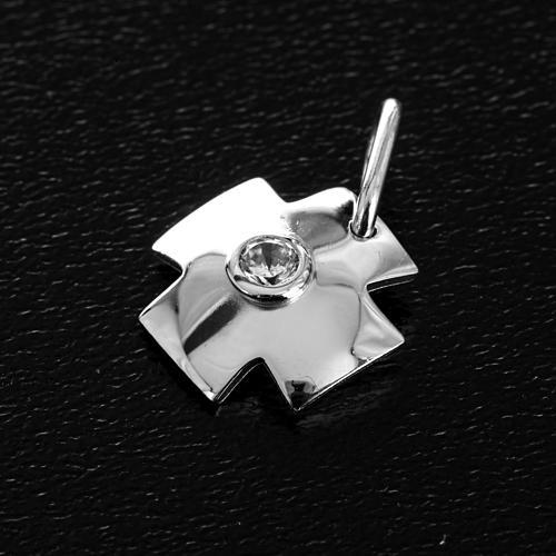 Croce argento 925 con zircone cm 1,5 2