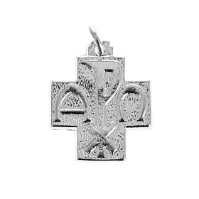 Pendants, crosses and pins: Pendant cross with Alpha Omega symbol in sterling silver 2cm