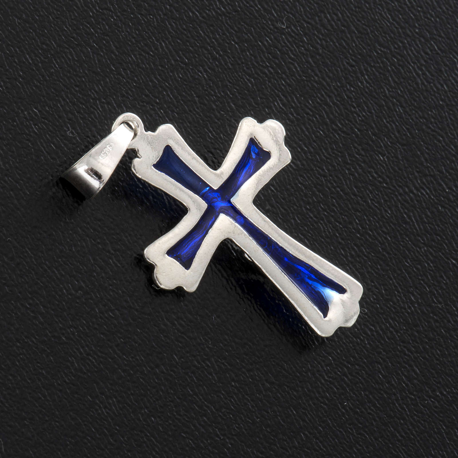 Croce smalto blu argento 925 4