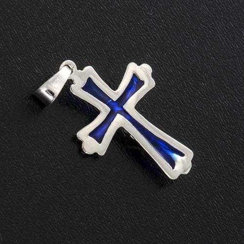 Croce smalto blu argento 925 3