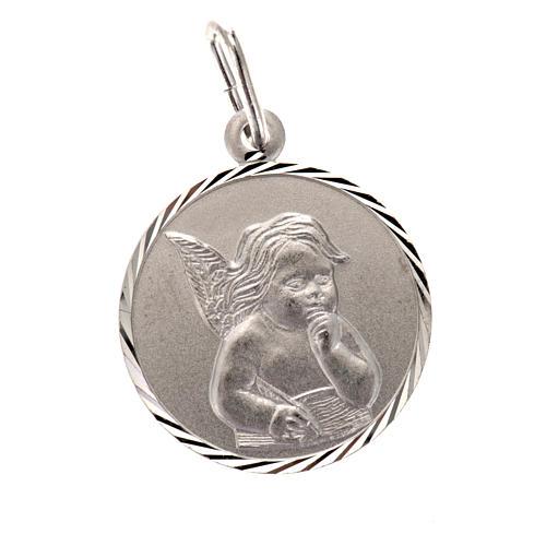 Médaille Ange argent 925 ronde 2 cm 1