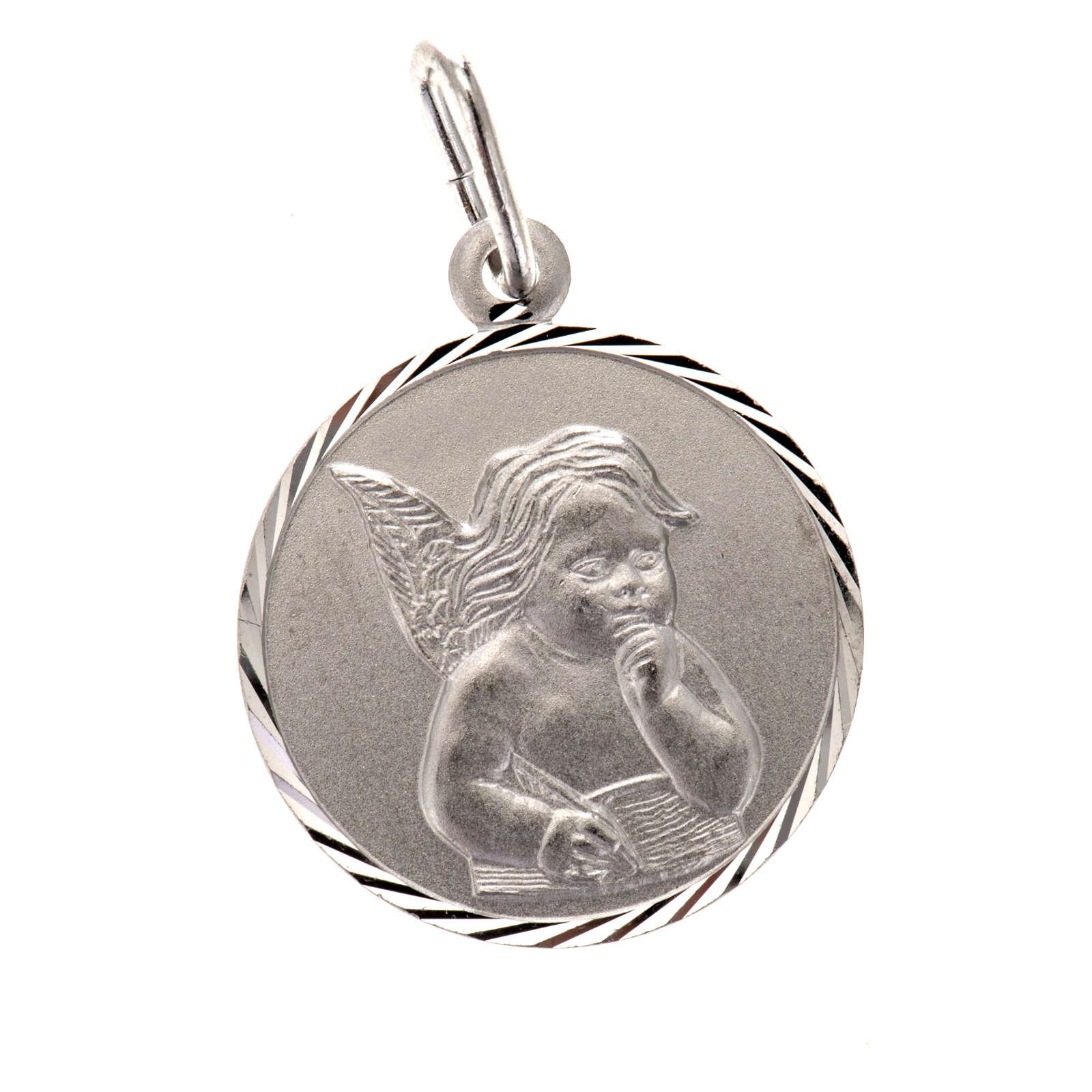 Medaglia Angelo argento 925 tonda cm 2 4