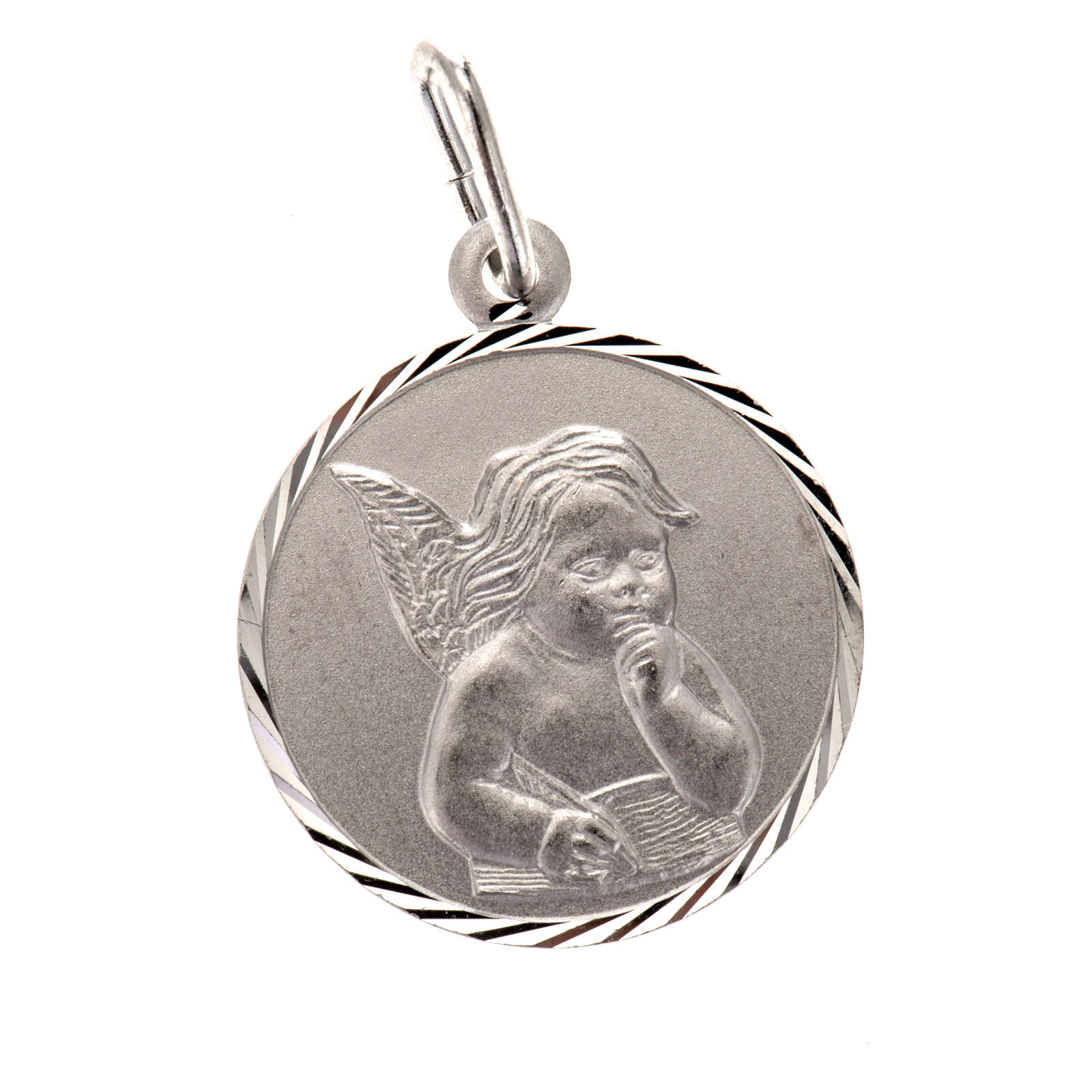Medal with Angel, sterling silver, round, 2cm 4