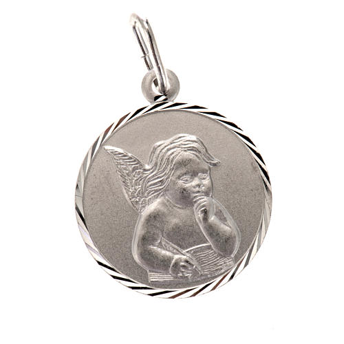Medal with Angel, sterling silver, round, 2cm 1