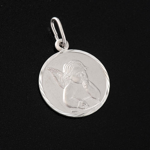 Medal with Angel, sterling silver, round, 2cm 3