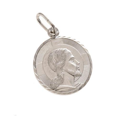 Médaille Visage du Christ ronde 2 cm argent 925 1