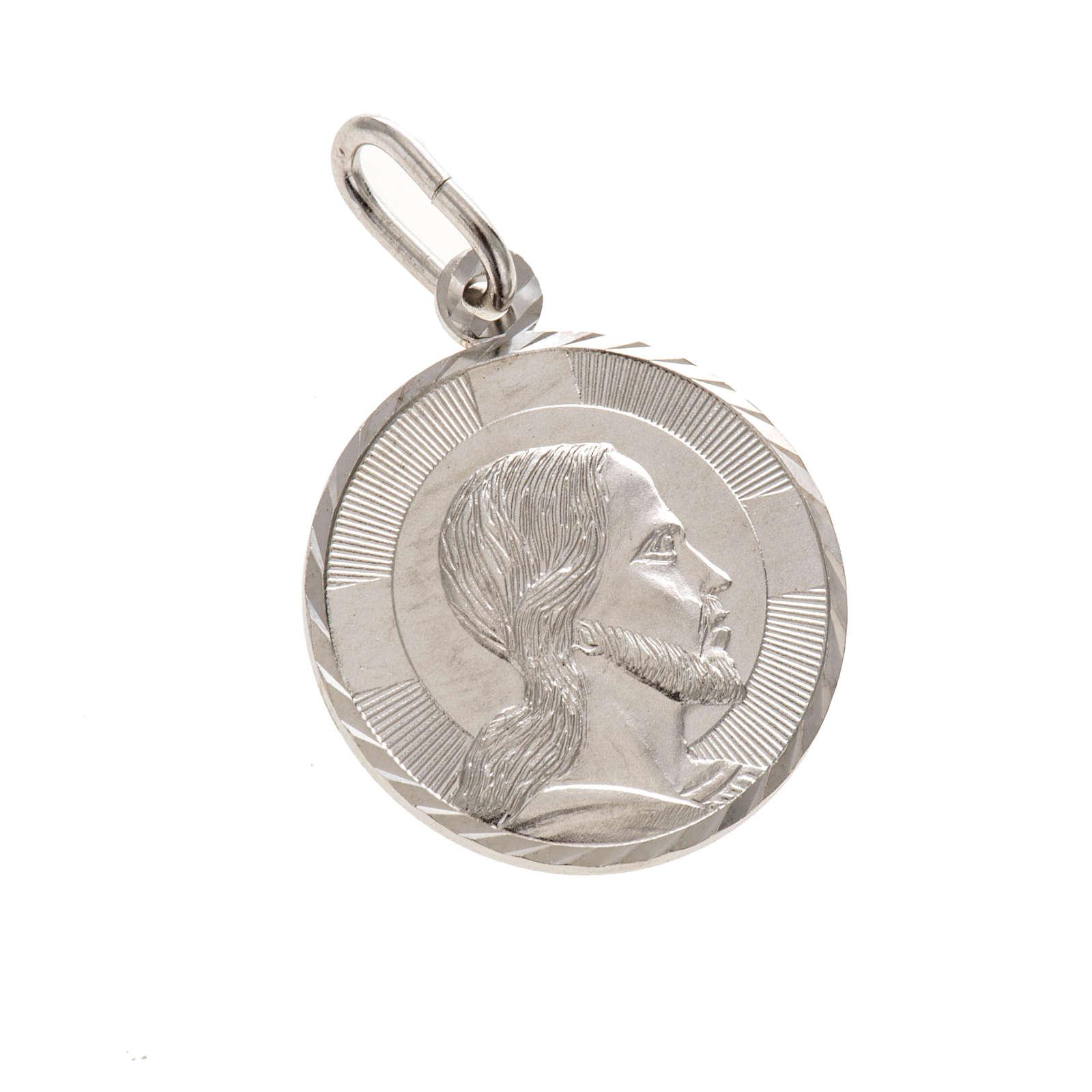 Medaglia Volto di Cristo 2 cm tonda argento 925 4