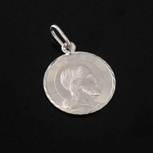 Medal with Christ's face, sterling silver, round, 2cm 2