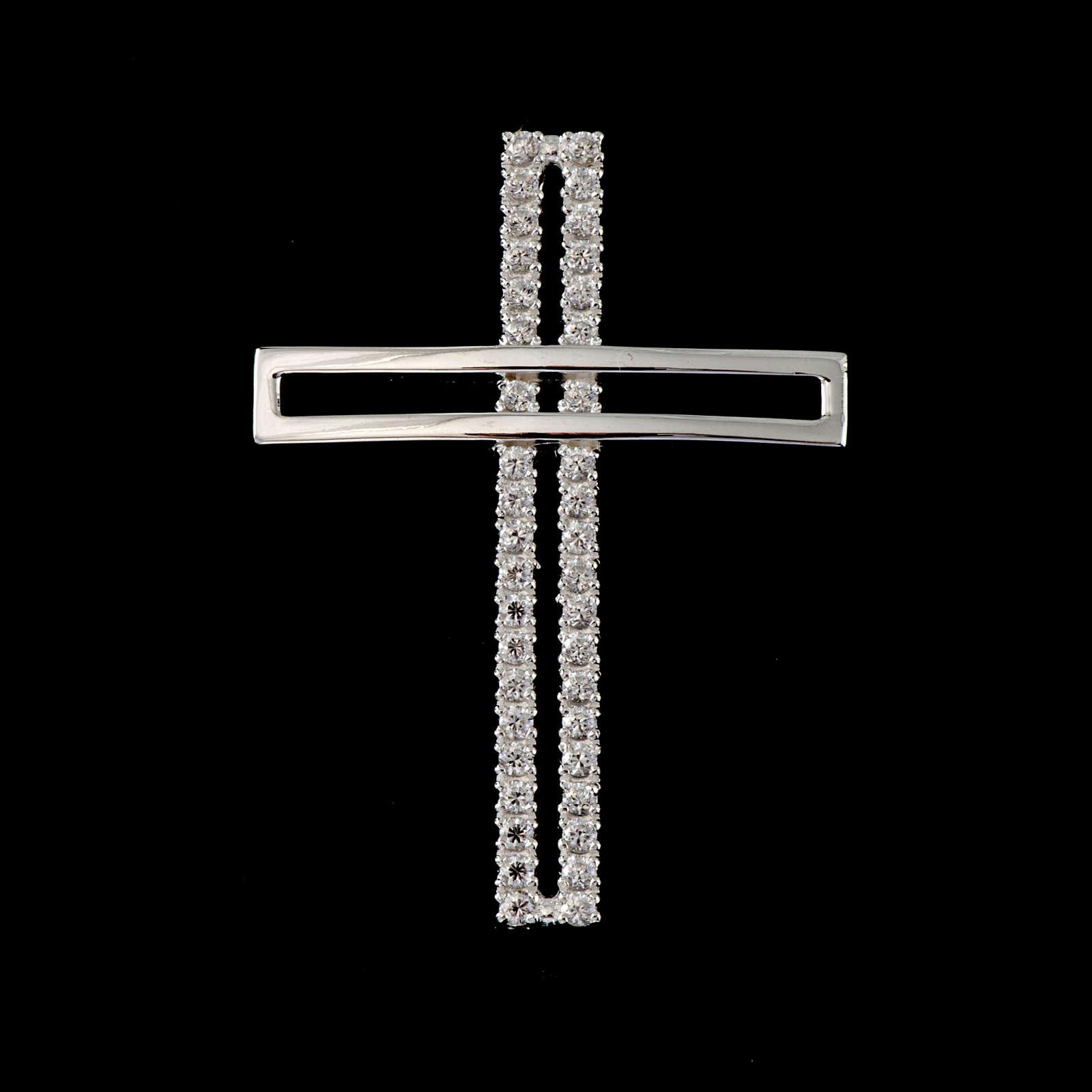 Croix double argent 925 avec strass 5 cm 4