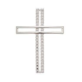 Croix double argent 925 avec strass 5 cm s1
