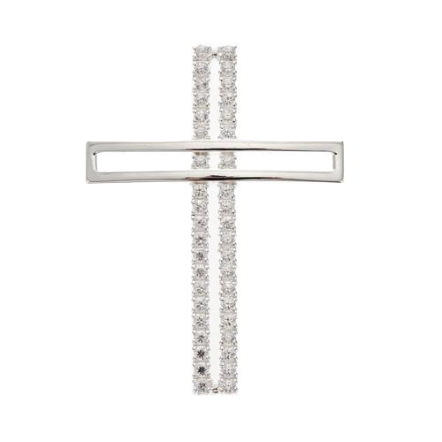 Croix double argent 925 avec strass 5 cm 1