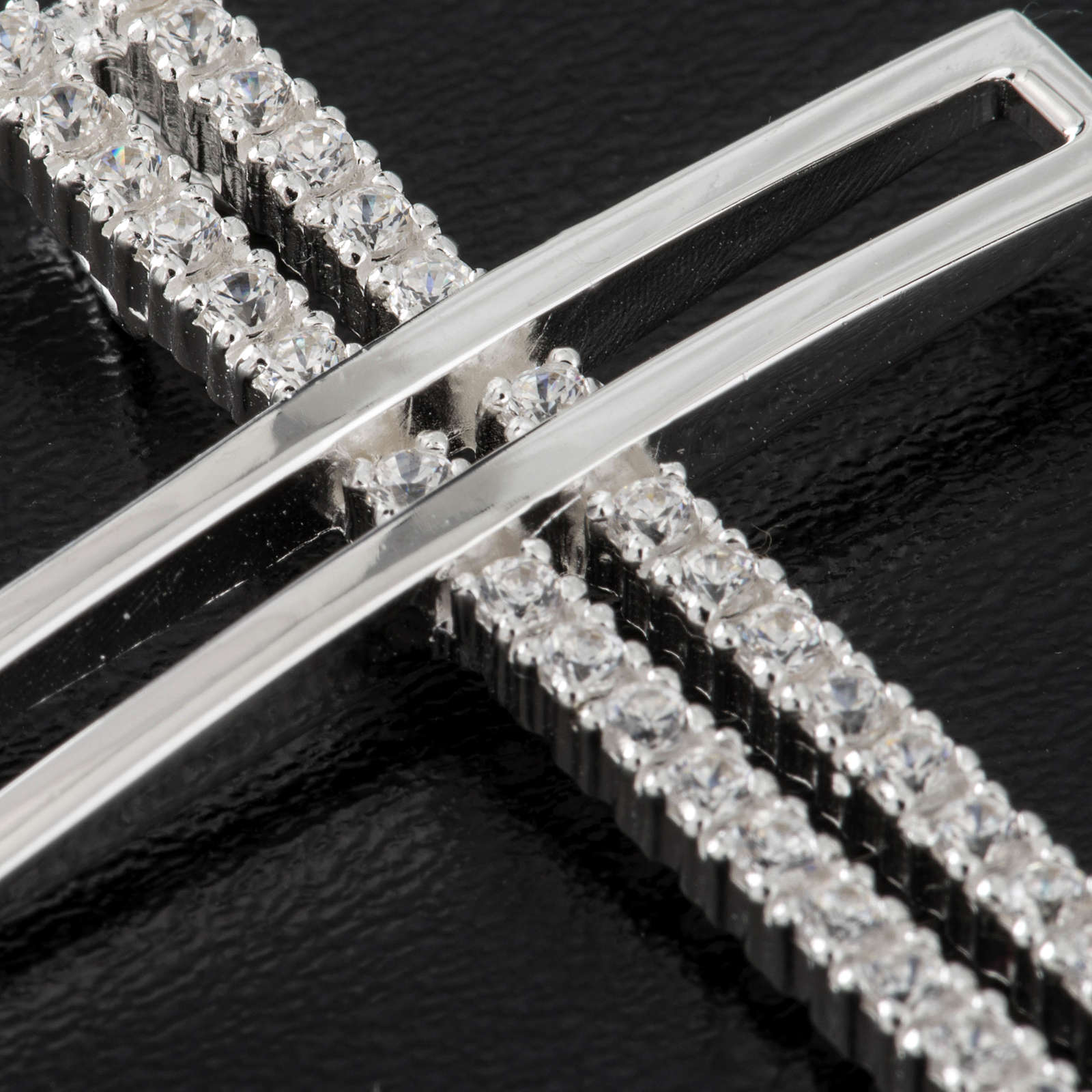 Croce doppia argento 925 con strass 5 cm 4