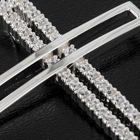 Croce doppia argento 925 con strass 5 cm s2
