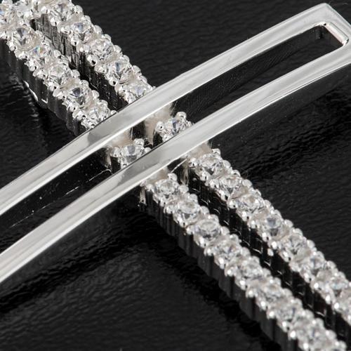 Croce doppia argento 925 con strass 5 cm 2
