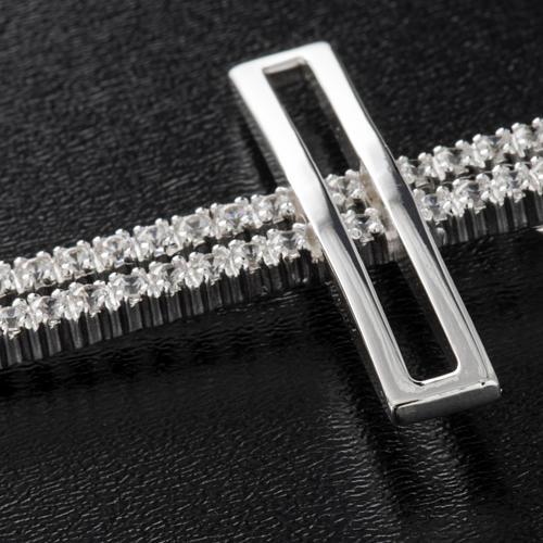 Croce doppia argento 925 con strass 5 cm 5