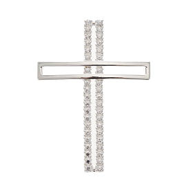 Pendant cross, double with rhinestones sterling silver, 5cm s1