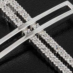 Pendant cross, double with rhinestones sterling silver, 5cm s2