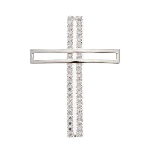 Pendant cross, double with rhinestones sterling silver, 5cm 1