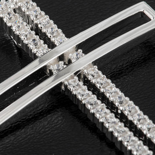 Pendant cross, double with rhinestones sterling silver, 5cm 2