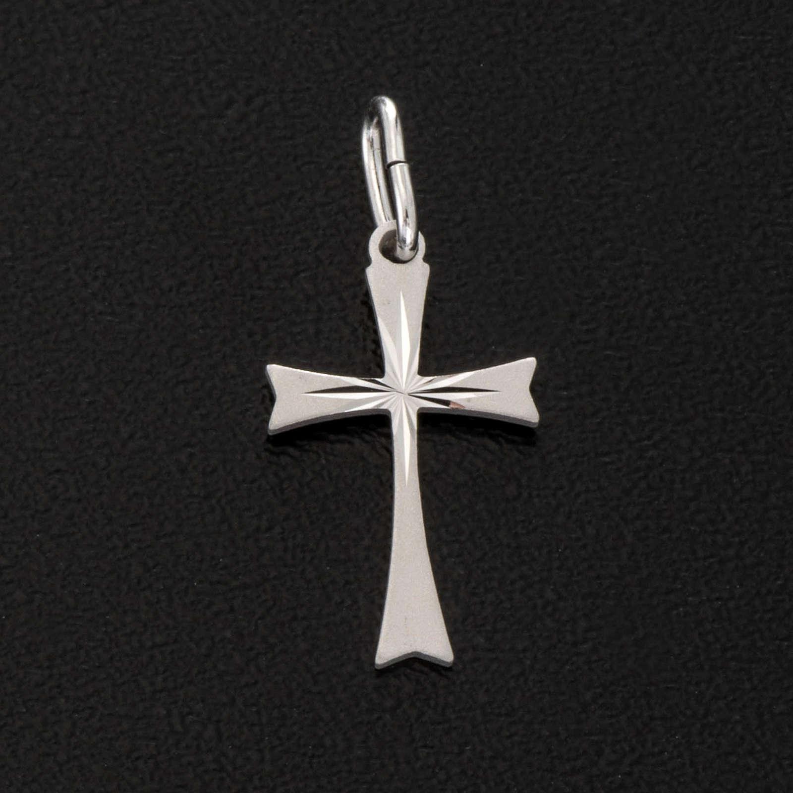 Pendant cross in satin sterling silver 2cm 4