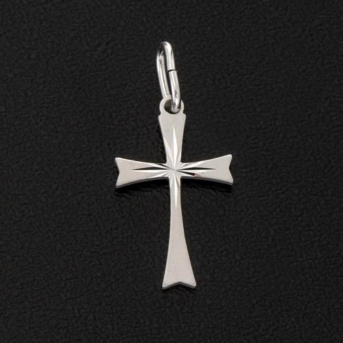Pendant cross in satin sterling silver 2cm 2
