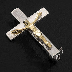 Clergy cross pin in worked sterling silver, H2.5cm s2