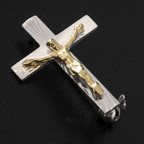 Clergy cross pin in worked sterling silver, H2.5cm 2