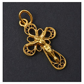 Cross in 800 silver filigree, gold bathed s5