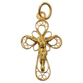 Croce in filigrana Argento 800 bagno oro s1
