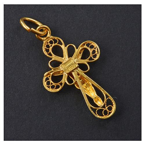 Croce in filigrana Argento 800 bagno oro 6