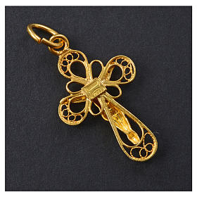 Cross in 800 silver filigree, gold bathed s6