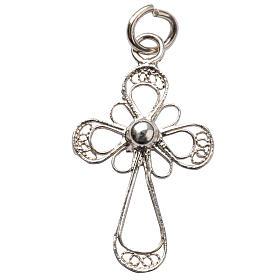 Colgantes, cruces y broches: Cruz de plata 800 en filigrana floral