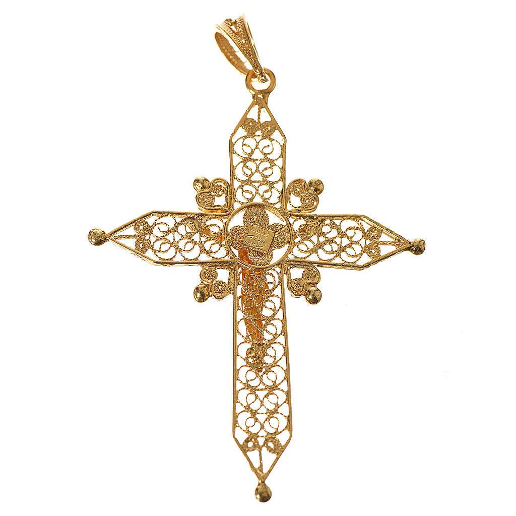 Croce a punta Argento 800 dorato 4