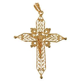 Croce a punta Argento 800 dorato s5