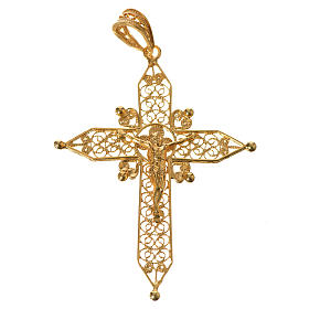 Croce a punta Argento 800 dorato s1